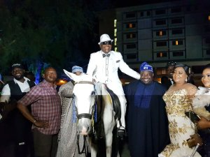 Sir Shina Peters arrives his birthday party on a white horse (Photos)