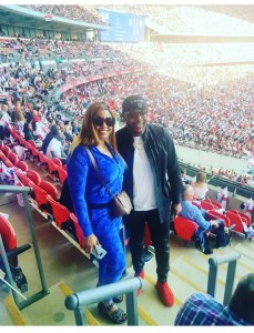 E-money And Wife, Juliet Okonkwo At Wembley Stadium For Nigeria Vs England Match (Photo)