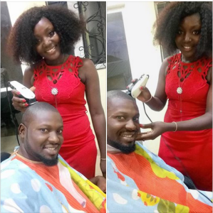Man Celebrates His Beautiful Female Barber in Abuja (Photos)