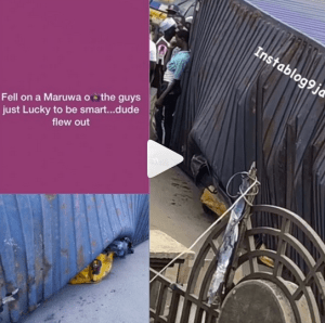 Man Narrowly Escapes Death As Huge Container Falls On His Keke Napep In Lagos (Video)