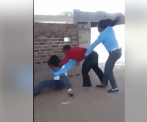 Secondary School Students Caught Beating Up Their Teacher During Class (Video)