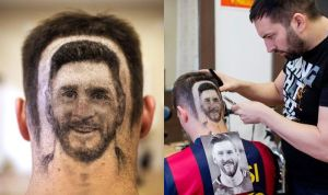 Barber Carves Lionel Messi's Face For Fans At N64,000 Per Head (Photos)