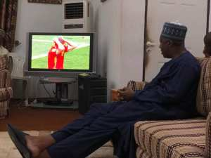 #WorldCup: See Saraki's Reaction While Watching Spain Vs Russia Match Yesterday. (Photos)