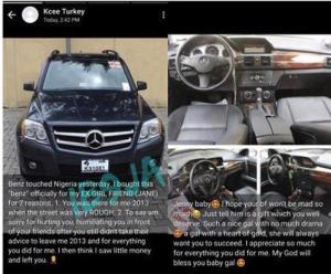 Nigerian Man Buys A Benz For His Ex-girlfriend, Explains Why (Photos)