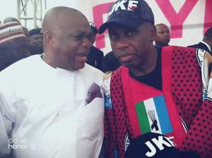 Orji Kalu Reacts After Seeing This At APC Campaign Rally In Ekiti State (Photos)