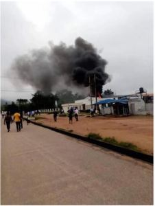 JUST IN: Access Bank In Akungba, Ondo State Currently On Fire(Photo)