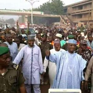 See the massive crowd that welcomed APC senator, Wamakko to Sokoto (Photos)