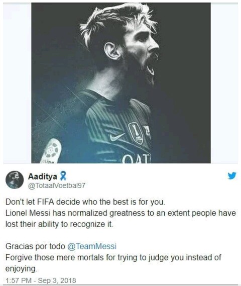 , Fans React Angrily After Lionel Messi Got Snubbed From FIFA's The Best Award, Effiezy - Top Nigerian News & Entertainment Website