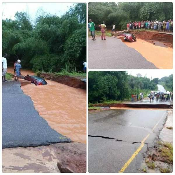 , Road Cuts Into Two After Heavy Rainfall In Anambra (Photos), Effiezy - Top Nigerian News & Entertainment Website