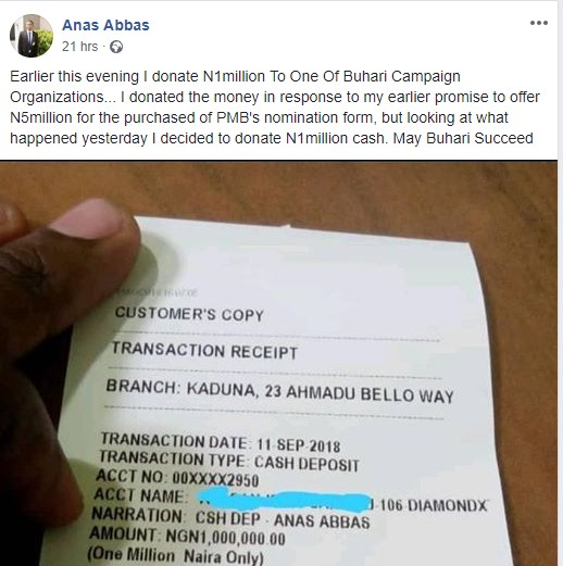 , Staunch Supporter of Buhari Donates N1million To Buhari's Campaign Group. (Photos), Effiezy - Top Nigerian News & Entertainment Website