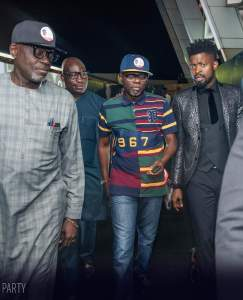, Ambode's rival, Jide Sanwo-Olu Poses With Basketmouth, Dayo Adeneye, Effiezy - Top Nigerian News & Entertainment Website