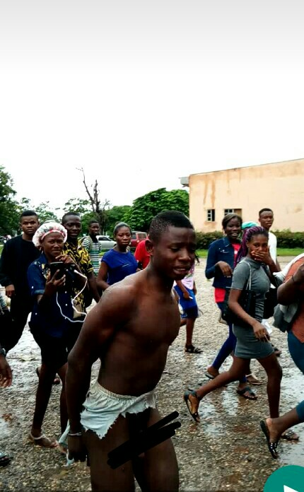 Man Stripped Naked For Raping EKSU Students (Photos, Video)