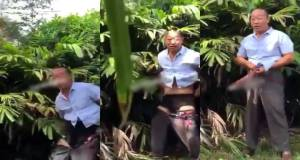 Chinese Man Forced To Pack His Faeces After He Was Caught Defecating In A Garden In Ghana (Video)