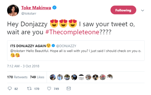 , Don Jazzy And Toke Makinwa Shoot Their Shots At Each Other! (See Screenshots), Effiezy - Top Nigerian News & Entertainment Website