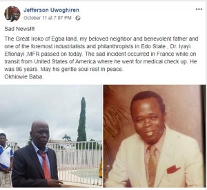 Nigerian Man Dies Midair On His Way To France For Medical Checkup.(Photos)