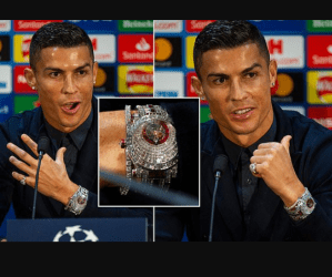 Too Much Money!! Cristiano Ronaldo wears a N877million wristwatch made with 424 glistening white diamonds as he returns to Manchester United (Photos)