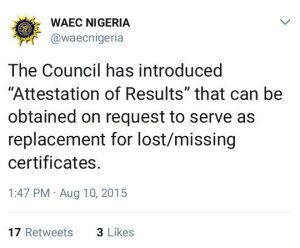 WAEC Introduced Attestation Of Results In 2015 (See Tweets)