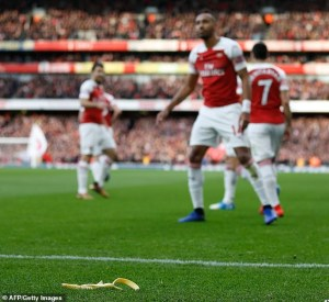 Tottenham Fan Arrested For Throwing Banana At Arsenal Forward, Pierre Aubameyang (Photos)