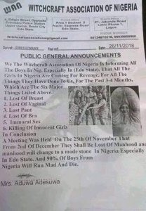 Check out this warning from Witchcraft Association of Nigeria to Nigerian boys (Photo)