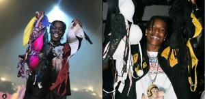 Rapper A$AP Rocky shows off different sizes of bras thrown at him on stage (Photos)