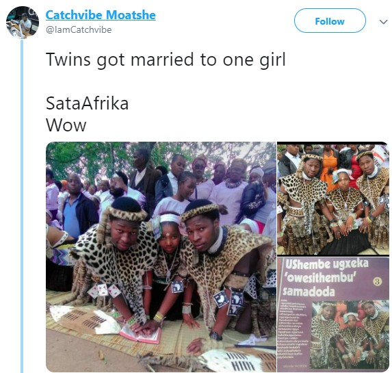 , South African Twins Marries  Same Lady At The Same Time (Photos), Effiezy - Top Nigerian News & Entertainment Website