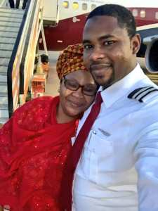 SWEET!! Proud Mother Poses With Her Pilot Son As He Flies Her (Photos)