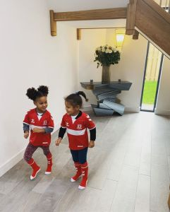 Mikel Obi's Twin Daughters Wear His Middlesbrough Jersey (Photos)