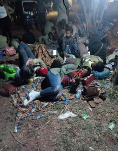 See the pathetic way corpers were left to spend the night in INEC offices (Photos & Video)