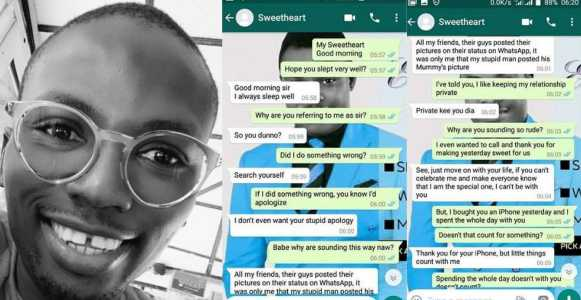 , Girl breaks up with boyfriend 24-hours after he bought her an iPhone (See Chat), Effiezy - Top Nigerian News & Entertainment Website