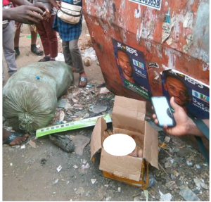 Newborn baby found dead in carton dumped by a refuse site in Anambra (Disturbing photos)