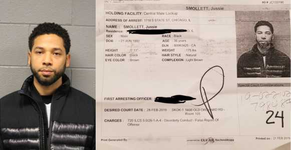 , Jussie Smollett's mugshot released as police berate him for staging an attack on himself for publicity (video), Effiezy - Top Nigerian News & Entertainment Website
