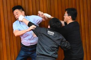Fight erupts in Taiwan parliament.