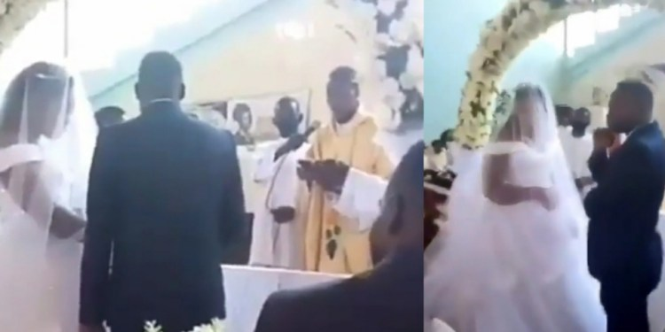 Woman disrupts wedding in Catholic church; claims groom is her husband and they slept together only hours earlier