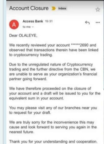 , Banks begin closing of customer's accounts that trade cryptocurrency (photo), Effiezy - Top Nigerian News & Entertainment Website