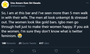 Twitter user hails Igbo men, says they go through hell just to make their women happy