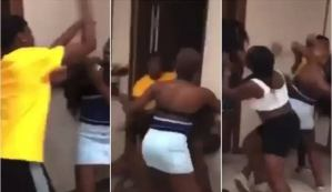 Drama as three ladies allegedly fight over one man at a hotel (video)
