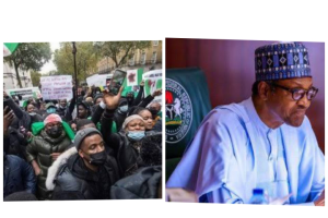 , #HarrassBuhariOutOfLondon – Nigerians storm Buhari's residence in London, Want Him to return home (video), Effiezy - Top Nigerian News & Entertainment Website
