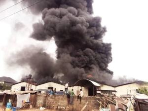 Goods destroyed as fire razes down plastic factory in Onitsha