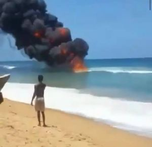 Commotion, disbelief as beach catches fire in Lagos (photo/video)