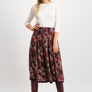 floral tartan ladies midi skirt