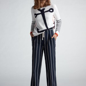 Oui Striped Navy Trousers Boutique