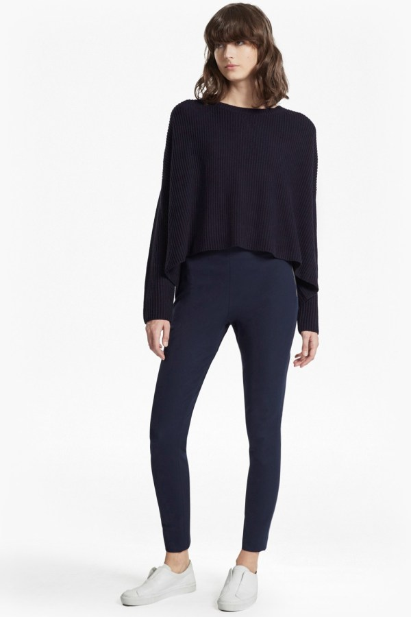 French Connection skinny twill navy trousers