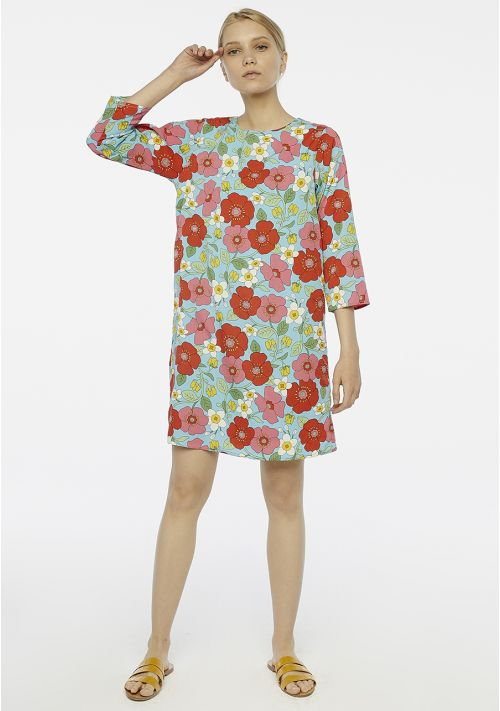 Poppy print shift tunic dress