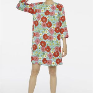 Poppy print shift tunic dress