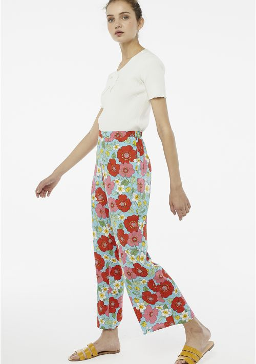 print wide leg trousers wedding