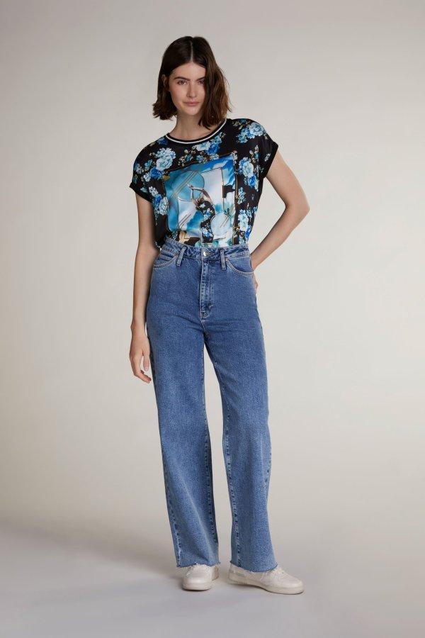 Oui print tshirt top blouse