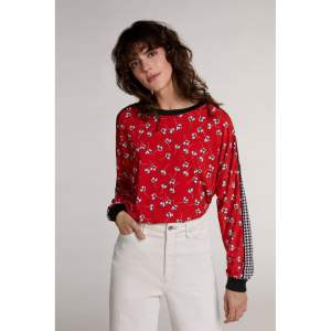 oui floral print sweater top blouse