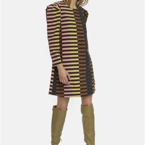 retro print striped dress Effigy