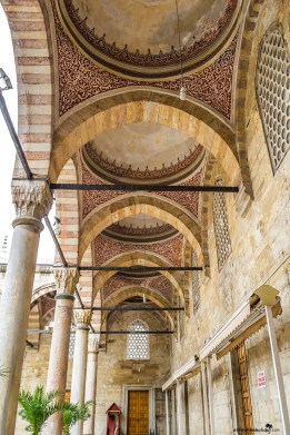 Beautiful arches at the Yeni Cami Mosque Istanbul Turkey