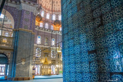 Blue tiles at the Yeni Cami Mosque Istanbul Turkey